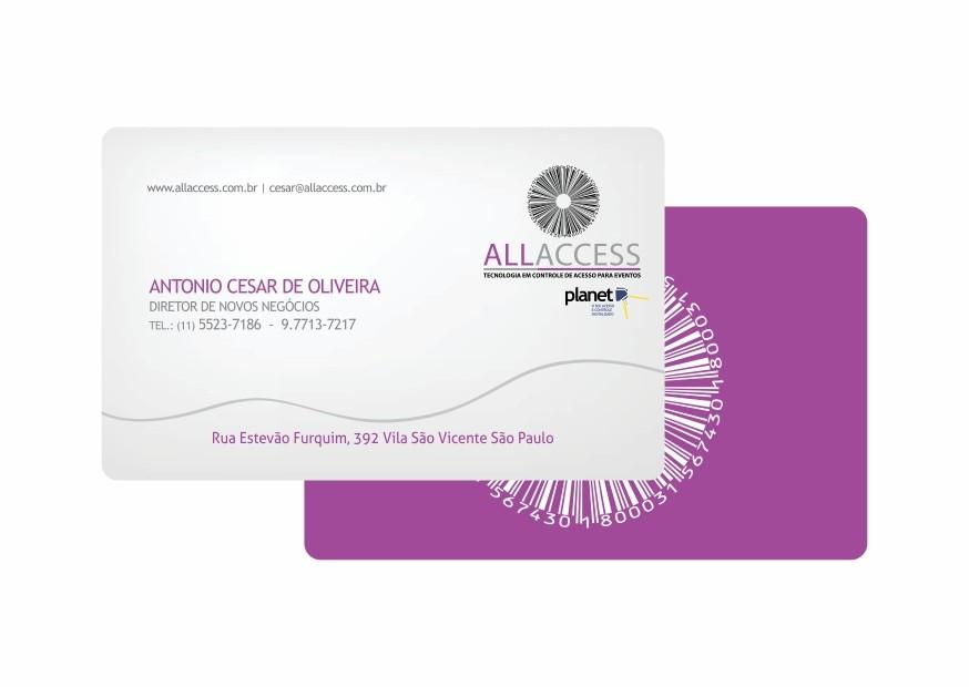 Cartão para crachá em pvc
